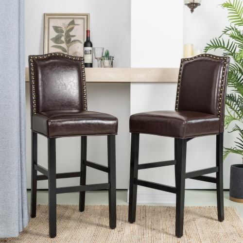 Glitzhome Bonded Leather High Back Studded Bar Chairs - Coffee Perspective: right