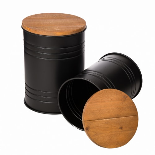Glitzhome Meta Storage Accent Stools with Wood Lids - Black Perspective: right