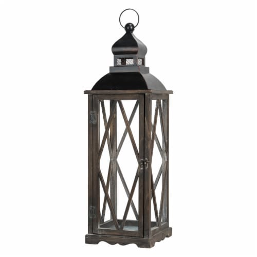 Glitzhome Farmhouse Wooden Lanterns with Diamond Window Frames - Black Perspective: right