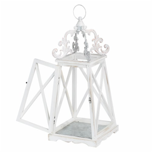Glitzhome Farmhouse Whitewash Modern Wooden Lanterns with 3D Metal Lace Top Perspective: right