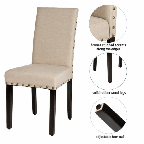 Glitzhome Cushioned Dining Chairs Pair - Cream Perspective: right
