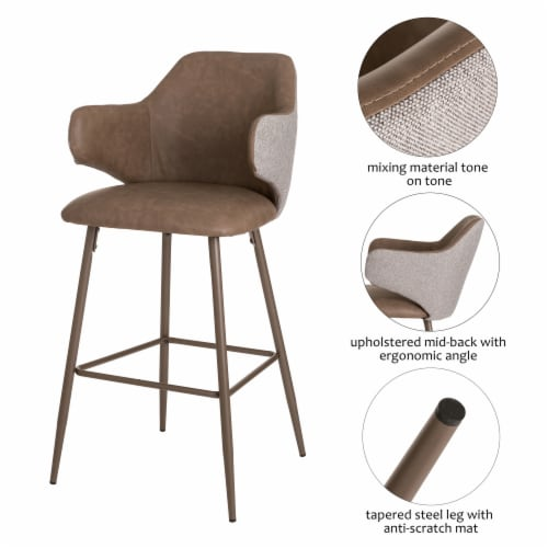 Glitzhome Leatherette & Fabric Bar Stools Pair - Dark Brown and Gray Perspective: right