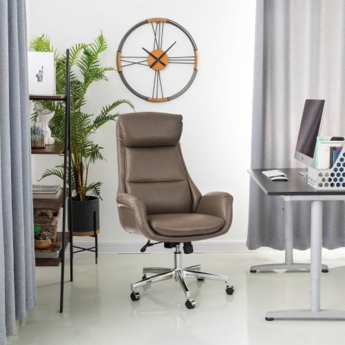 Glitzhome Mid-Century Modern Leatherette Adjustable Swivel High Back Office Chair - Brownish Gray Perspective: right