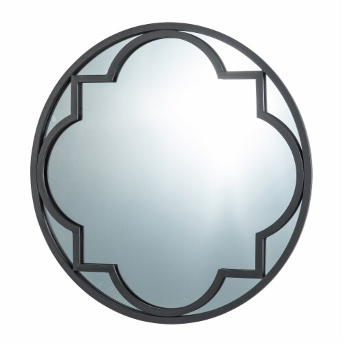 Glitzhome Medium Metal/Glass Round Classic Wall Mirror - Black Perspective: right