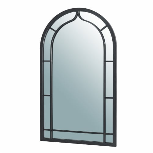 Glitzhome Oversized Metal/Glass Arched Wall Mirror - Black Perspective: right