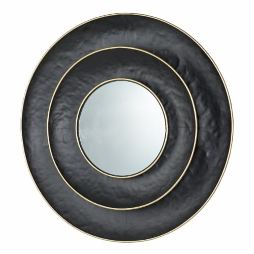 Glitzhome Round Metal Wall Mirror - Black/Gold Perspective: right
