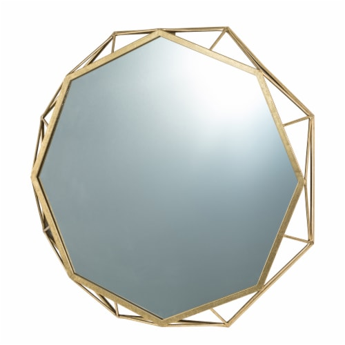 Glitzhome Deluxe Golden Octagonal Metal/Glass Wall Mirror Perspective: right