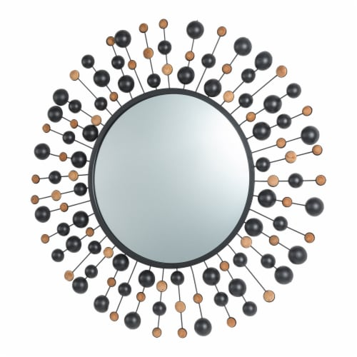 Glitzhome Oversized Metal/Glass Round Wall Mirror with Beads Perspective: right