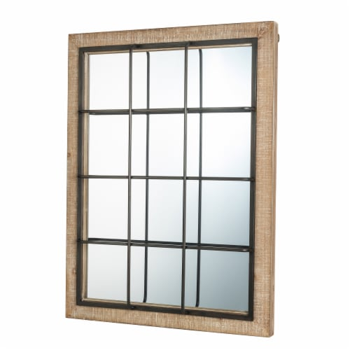 Glitzhome Farmhouse Wooden/Metal Windowpane Classic Wall Mirror Perspective: right