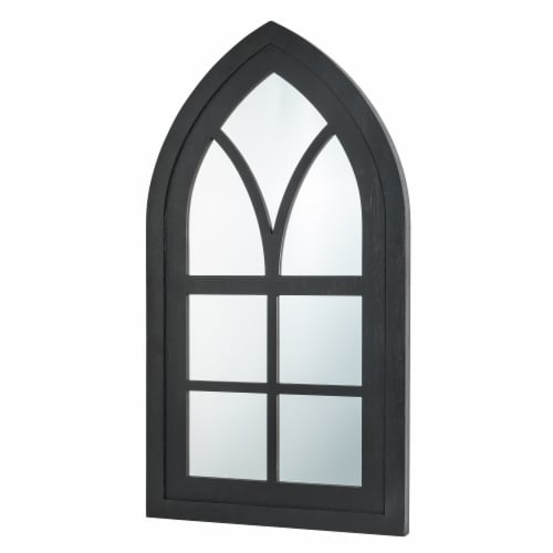 Glitzhome Wooden Cathedral Windowpane Wall Mirror Decor - Black Perspective: right