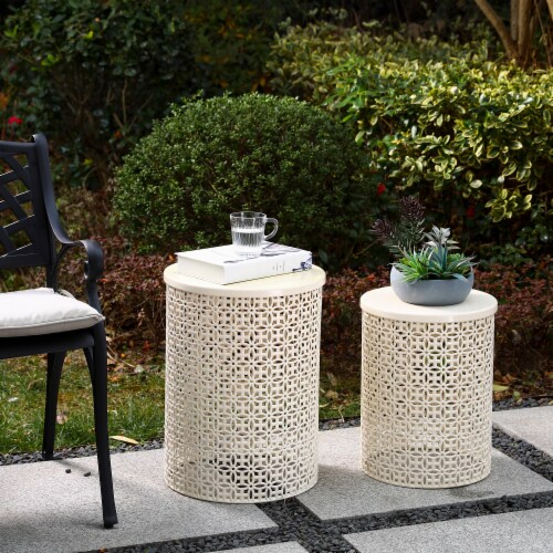 Glitzhome Metal Garden Stool Plant Stand - Cream White Perspective: right
