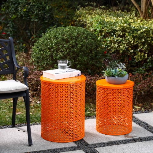 Glitzhome Metal Multi-Functional Garden Stool Plant Stands - Orange Perspective: right