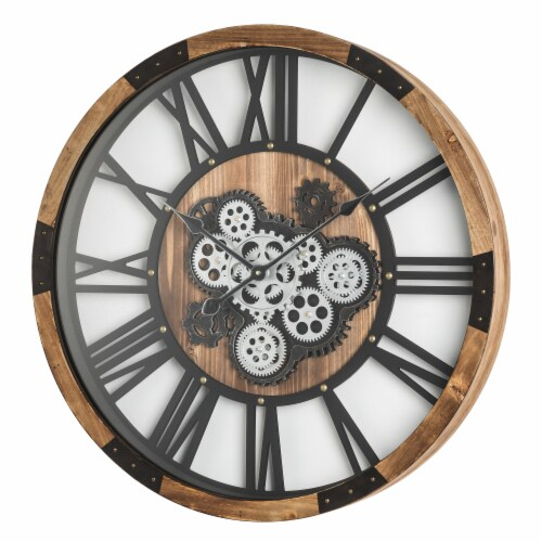 Glitzhome Industrial Wooden/Metal Round Gear Wall Clock Perspective: right