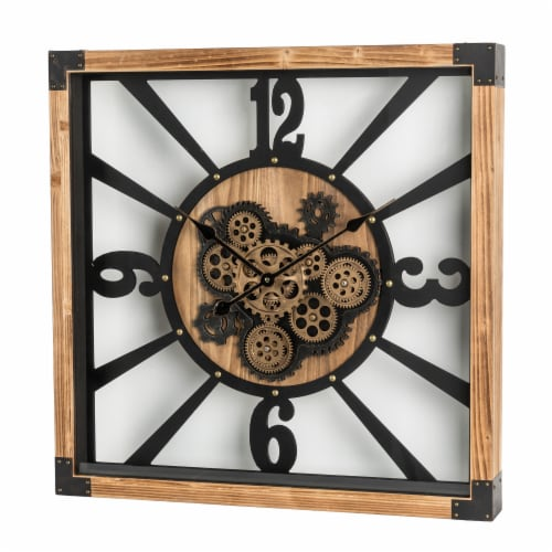 Glitzhome Industrial Wooden/Metal Square Gear Wall Clock Perspective: right