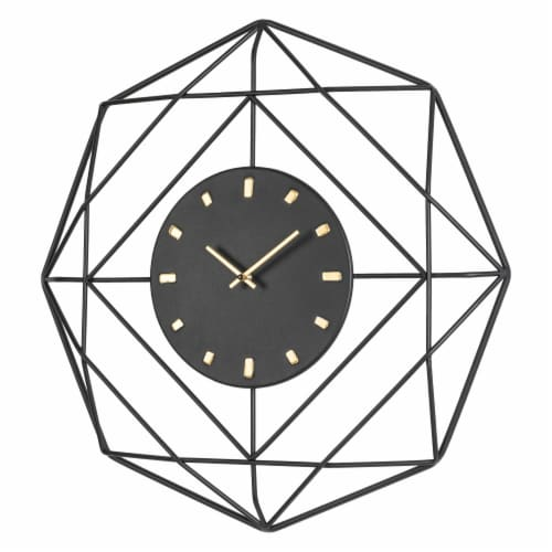 Glitzhome Modern Metal Wall Clock - Black/Golden Perspective: right