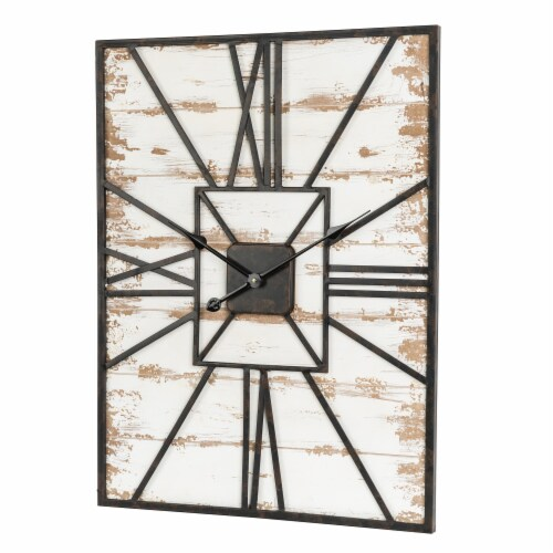 Glitzhome Oversized Farmhouse Washed White Wooden/Metal Wall Clock Perspective: right