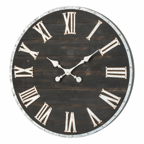 Glitzhome Oversized Farmhouse Wooden and Galvanized Wall Clock Perspective: right