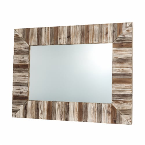 Glitzhome Farmhouse Rectangle Wooden Frame Wall Mirror Perspective: right