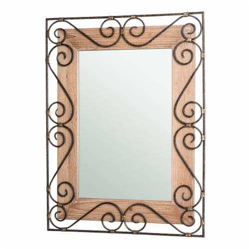 Glitzhome Traditional Rectangle Wooden and Metal Scroll Wall Mirror Perspective: right
