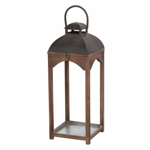 Glitzhome Farmhouse Modern Wood/Metal Lanterns - Whiskey Brown Perspective: right
