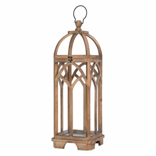 Glitzhome Farmhouse Natural Wooden Church Window Lanterns Perspective: right