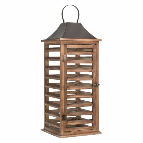 Glitzhome Farmhouse Natural Wooden Shutter Lanterns Perspective: right