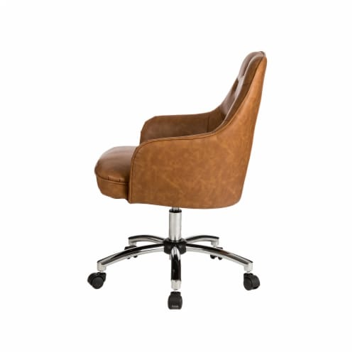 Glitzhome Bonded Leather Gaslift Adjustable Swivel Desk Chair - Caramel Perspective: right