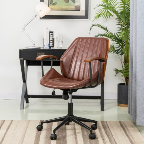 Glitzhome Russet Leatherette Adjustable Swivel Desk Chair - Coffee Perspective: right