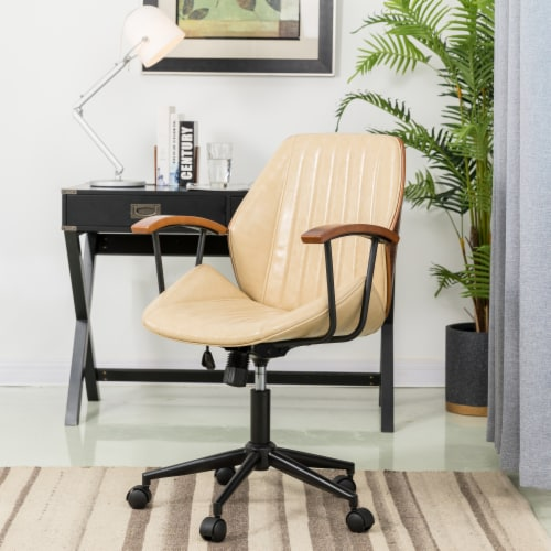 Glitzhome Leatherette Adjustable Swivel Desk Chair - Cream Perspective: right