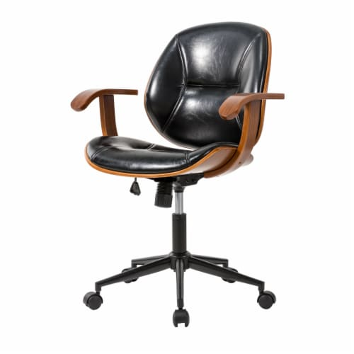 Glitzhome Adjustable Swivel Leatherette Desk Chair  - Black Perspective: right