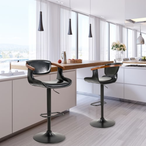 Glitzhome Leatherette Adjustable Swivel Bar Stool Perspective: right