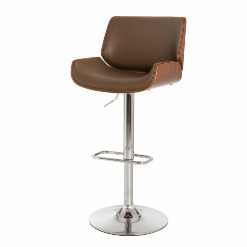 Glitzhome Adjustable Height Swivel Bar Stool - Brown Perspective: right