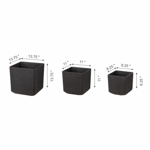 Glitzhome Oversized Faux Marble Square Plastic Planter -  Black Perspective: right
