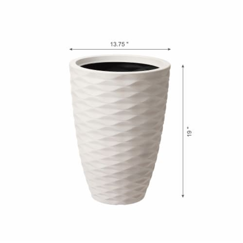 Glitzhome Faux Porcelain Round Planter Perspective: right