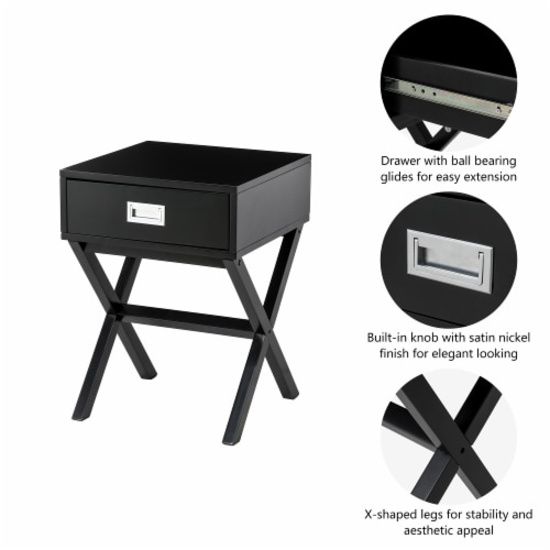 Glitzhome Modern Wooden X-Leg End Table - Black Perspective: right