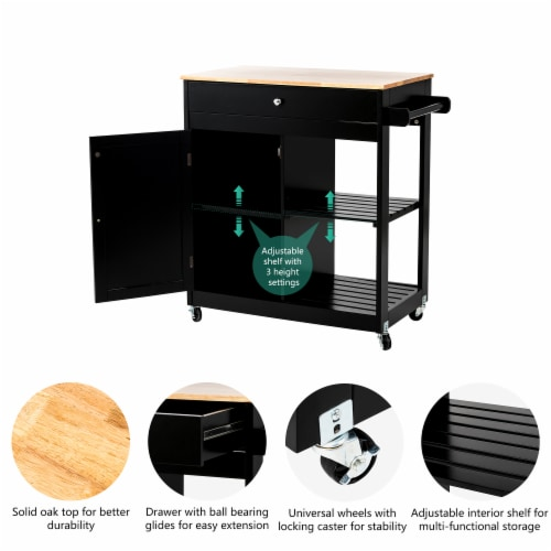 Glitzhome Basic Wooden Kitchen Island - Black Perspective: right
