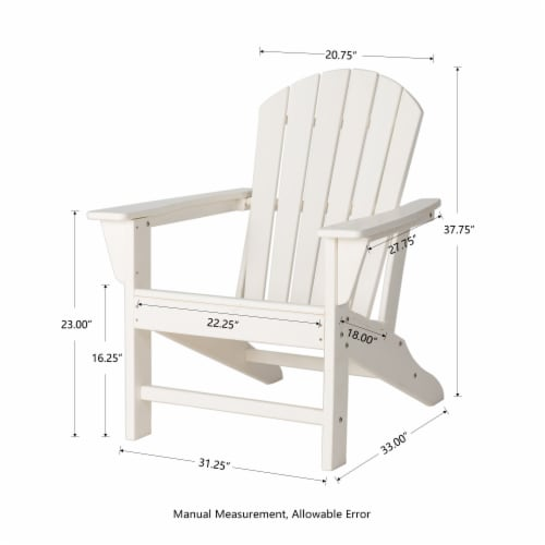 Glitzhome All-Weather Adirondack Chair - White Perspective: right
