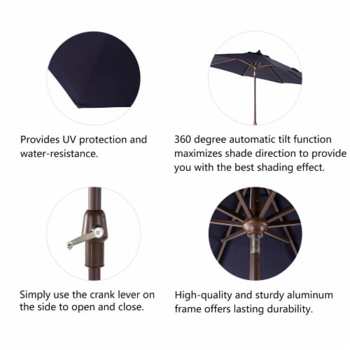 Glitzhome Aluminium Self Tilt Market Patio Umbrella - Navy Blue Perspective: right