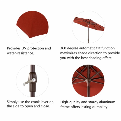 Glitzhome Aluminium Self Tilt Market Patio Umbrella - Wine Red Perspective: right