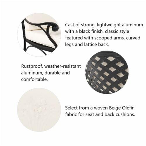 Glitzhome Cast  Aluminium Patio Sofa Chair with Cushion - Beige / Black Perspective: right