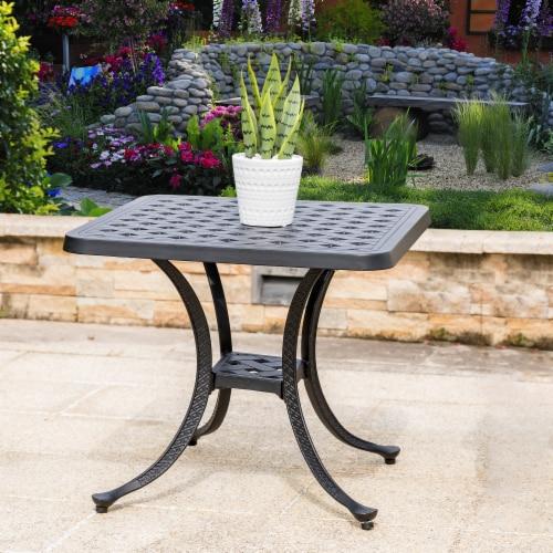 Glitzhome Cast Aluminium Patio Garden Square Side Table - Black Perspective: right