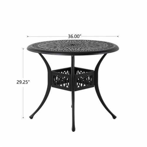 Glitzhome Cast Aluminium Patio Garden Round Dining Table- Black Perspective: right