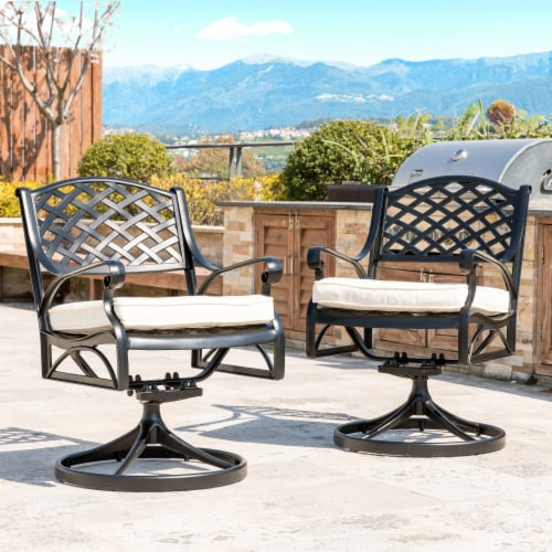 Glitzhome Cast Aluminum Patio Dining Swivel Chair - Beige Perspective: right