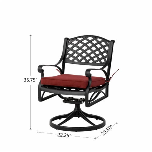 Glitzhome Cast Aluminium Patio Garden Dining Swivel Chair with Wine Red Cushion Perspective: right