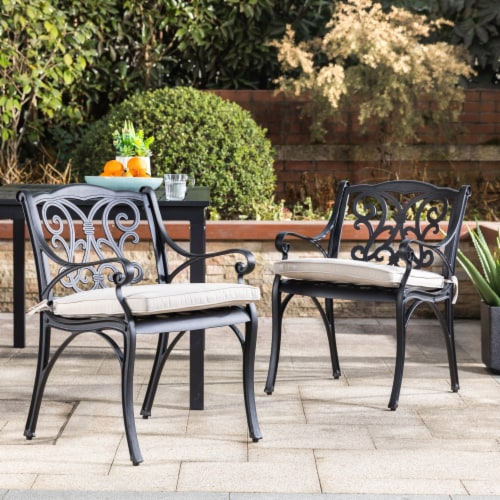 Glitzhome Cast Aluminium Dining Chairs with Beige Cushions Set Perspective: right