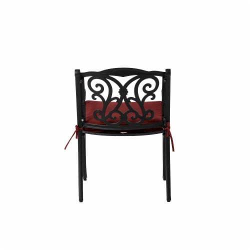 Glitzhome Cast Aluminium Dining Chairs with Red Cushions Set Perspective: right