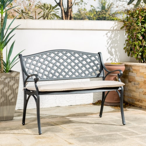 Glitzhome Aluminium Patio Garden Bench with Beige Cushion Perspective: right