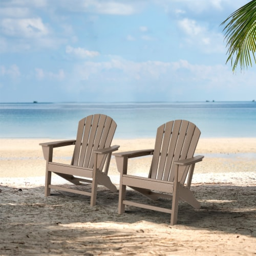 Glitzhome All-Weather Adirondack Chair - Tan Perspective: right