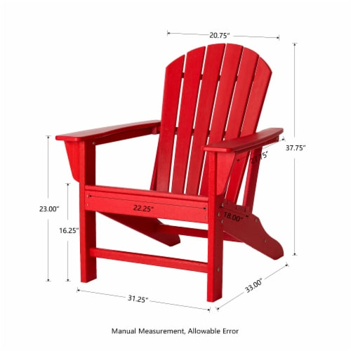 Glitzhome Adirondack Chair - Red Perspective: right