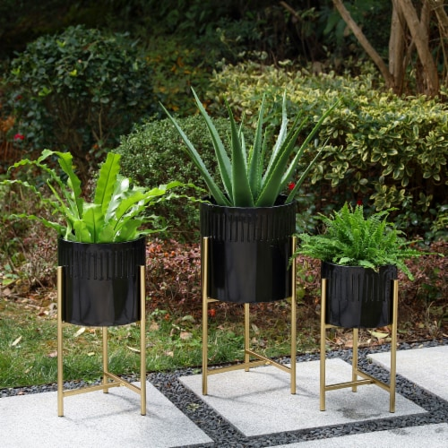 Glitzhome Modern Glossy Metal Plant Stands - Black/Gold Perspective: right